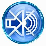 speaker off icon blue, isolated on white background.