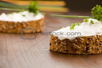 Slice of Bread with creme fraiche