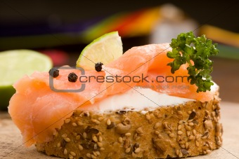 Slice of Bread with creme fraiche and smoked salmon