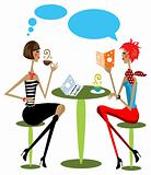 2 woman drink coffee, talking, reading fashion magazine cartoon 