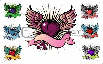 7 tattoo style emblem, vector love, flower, fly icon