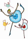 ballet dancer woman, cartoon group icons