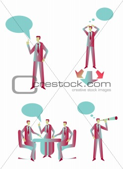 Business group people blue & red icons set 2