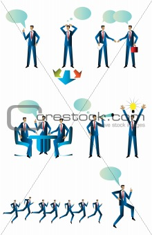 Business People Collection emblem, tag, icons isolated on white