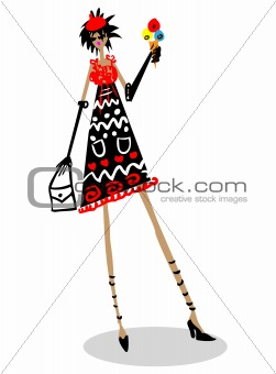 Cartoon fashion woman with ice cream in hand