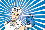 Coffee Housewife vector poster with woman and cup of coffee in h