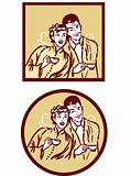 Coffee or tea retro card poster. Woman and man with hot cup