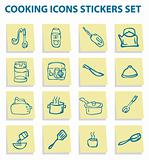 Cooking icons stickers set, kitchen elements 3