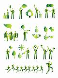 Ecology people group, business icons set