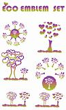 Ecology web emblem icon, tree environmental tree symbols