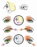 eye lash face woman cosmetic button make-up icons