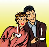 Family breakfast with hot drinks retro vintage illustration