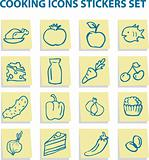 Food icons stickers set, kitchen elements 2