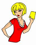 Girl with yellow card cartoon