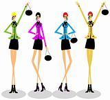 Girls group fashion illustration shopping business woman