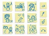 Group people in love icons set, stickers background 1