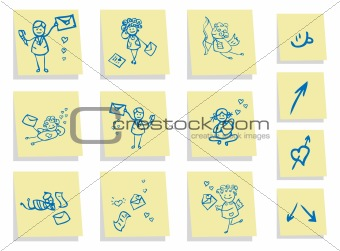 Group people in love icons set, stickers background