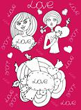 Love girl pink background