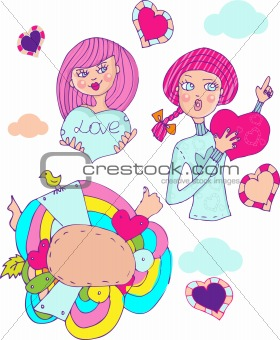 Love girl, cartoon icons emblem, border, design elements