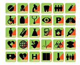 Medical icons set bio green and orange
