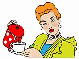 Retro Housewife vintage vector symbol with cup & teapot