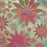 Vintage Floral Grunge Scrapbook Background 
