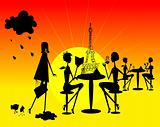 Shine French Woman silhouette in open cafe background