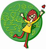 Spring Female love eco emblem
