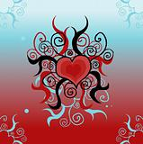 Tattoo love heart card, background, poster