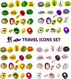 Travel backgrounds button Vector illustration big set