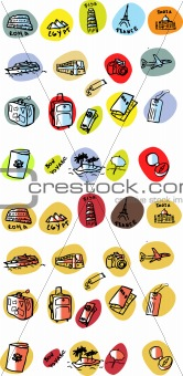 Travel emblems web button set