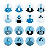 Blue Icons diverse people professions staff man woman