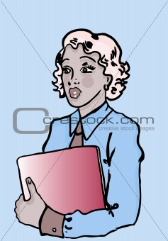 Business woman with laptop in hand  retro pinup style
