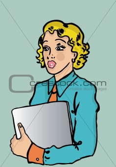 Business woman with laptop in retro pinup style