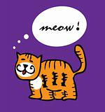 Cat kitty tiger cartoon funny vector illustration