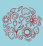 Floral background flower emblem on blue