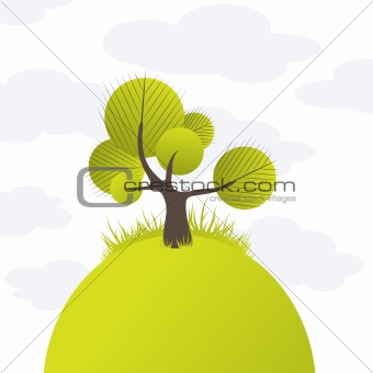 Abstract tree, flowers. Vector illustration