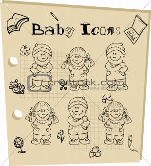 Baby school tattoo doodle icons set