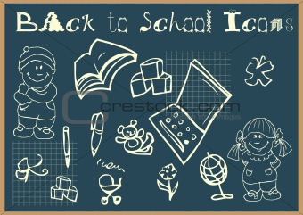 Back to school icons set doodles