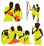 Family life and healthy clean water silhouette illustration