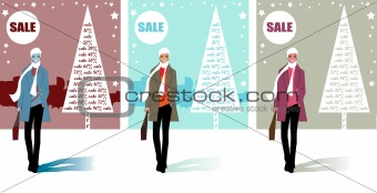 3 Christmas shopping card, sales in the city. Man at the winter