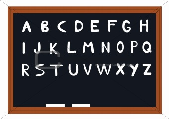blackboard with alphabet