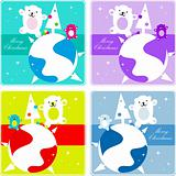 4 Vector christmas Polar Bear  dancing  family, kids greetings