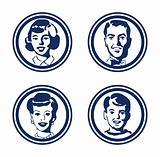 Happy retro family icons, vintage 4 people group stickers, tags