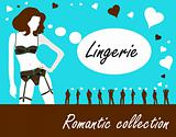 Romantic lingerie collection card, poster, label with sexy nude