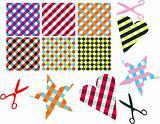 Vector cross-weave gingham tiles. Scissors with napkins patterns