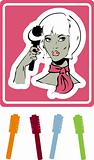 woman make up icon, card, poster, sticker. hair brush & Hairdres
