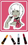 woman make up icon, card, poster, sticker. lipstick & shine balm