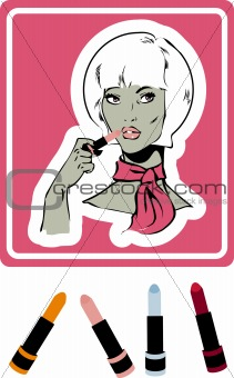 woman make up icon, card, poster, sticker. lipstick &amp; shine balm