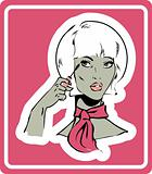 woman make up icon, card, poster, sticker. Mascara